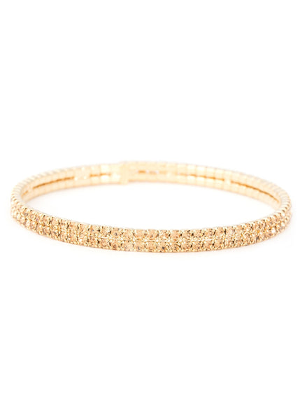 Antique gold  CZ Bangle 2 Rows, Gold