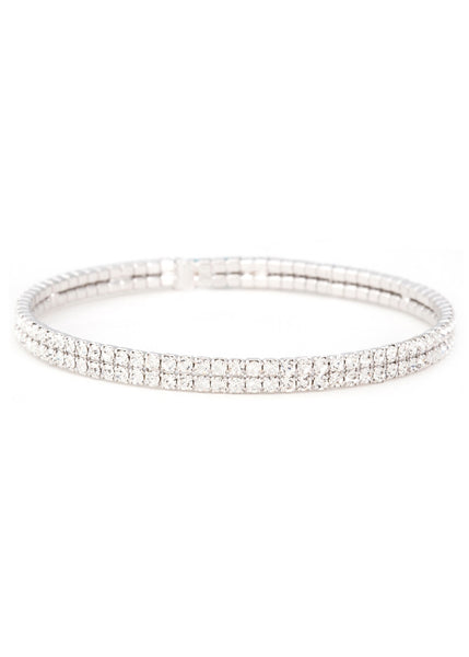 Clear CZ Bangle 2 Rows, White Gold