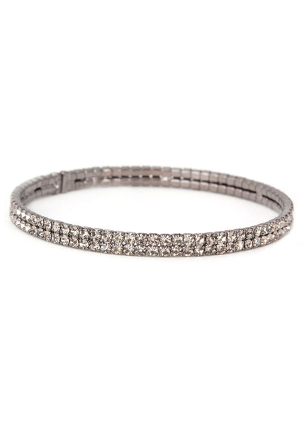 Pewter CZ Bangle 2 Rows, Gun metal