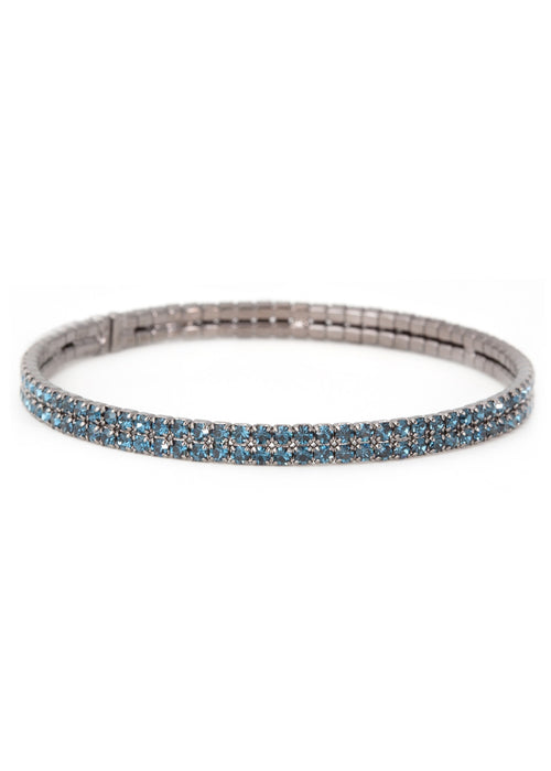 Blue CZ Bangle 2 Rows, Gun metal