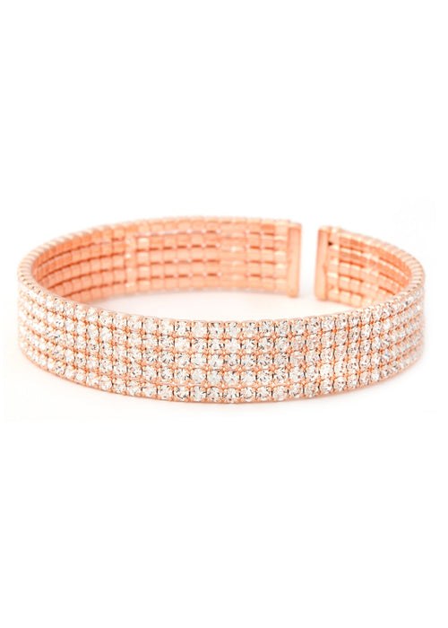 Clear CZ Bangle 5 Rows, Rose Gold