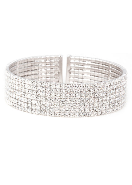 Clear CZ Bangle 7 Rows, White gold