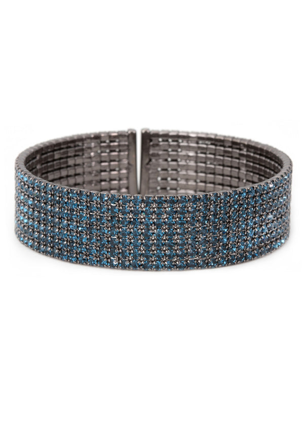 Blue CZ Bangle 7 Rows, Gun Metal