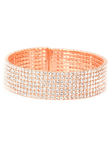 Clear CZ Bangle 7 Rows, Rose Gold