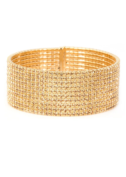 Antique CZ Bangle 10 Rows, Gold