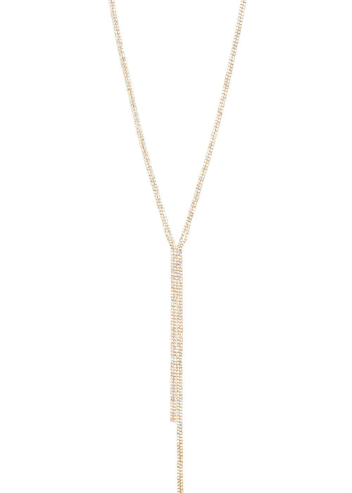 Clear CZ Y Necklace, Gold