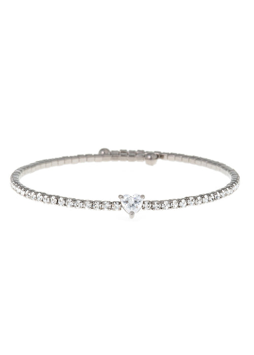Heart accented clear  CZ Bangle 1 Row, Gun Meta1