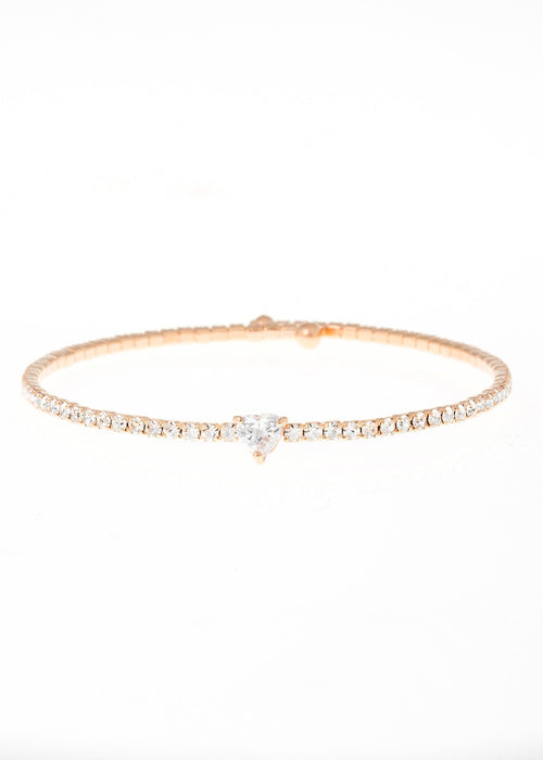 Heart accented clear  CZ Bangle 1 Row, Rose Gold