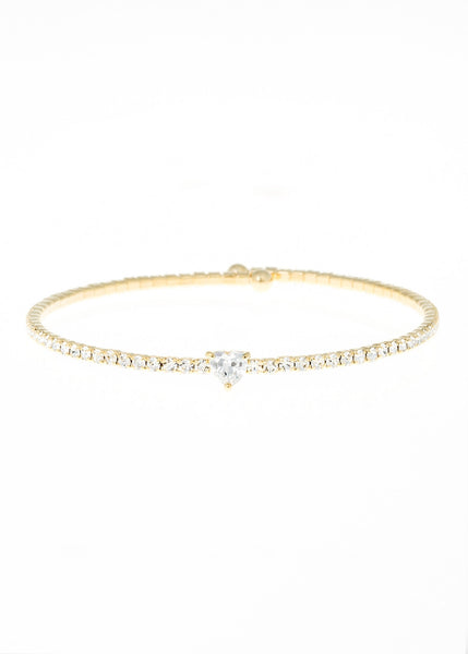 Heart accented clear  CZ Bangle 1 Row, Gold