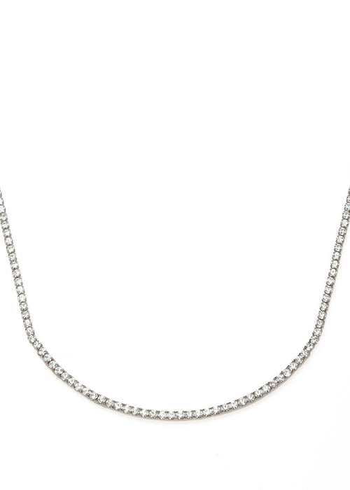 Eternity Clear CZ necklace, gun metal finish