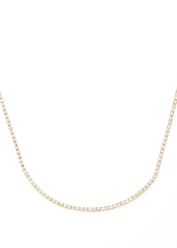 Eternity Clear CZ necklace, gold finish