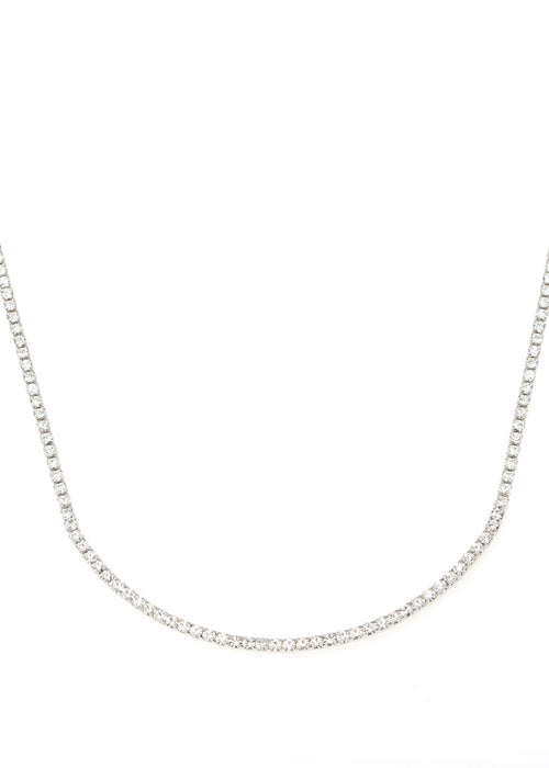 Eternity Clear CZ necklace, white gold finish