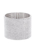Clear CZ Bangle, 20 Rows, White gold finish