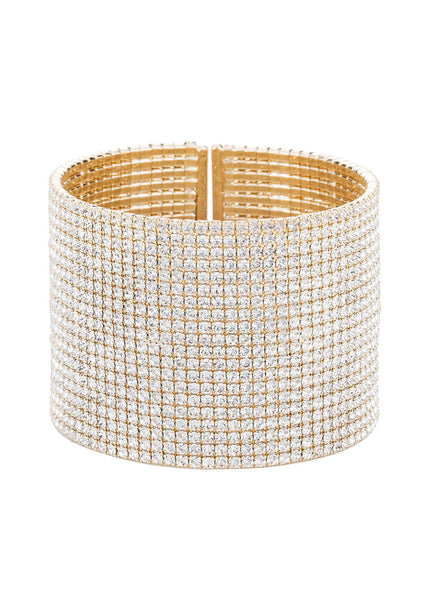 Clear CZ Bangle, 20 Rows, Yellow gold finish