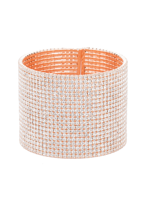 Clear CZ Bangle, 20 Rows, Rose  gold finish