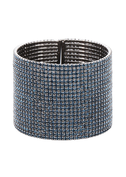 Blue Sapphire CZ Bangle, 20 Rows, Gun metal finish