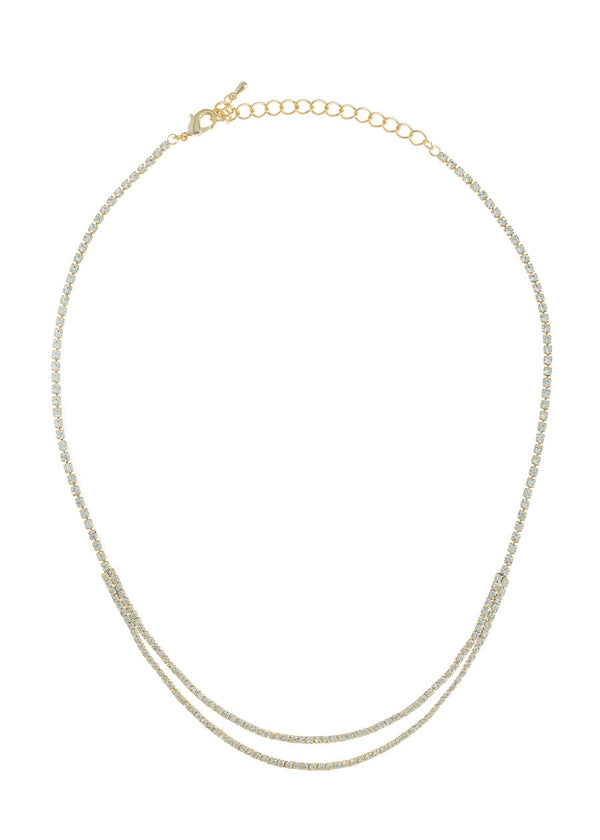 Double row of eternity CZ necklace, Gold finish