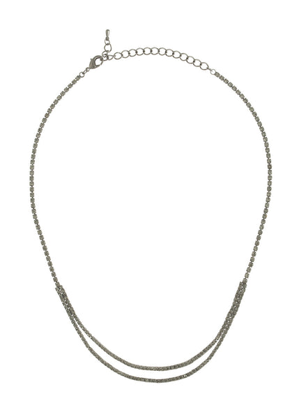 Double row of eternity CZ necklace, Gun metal finish