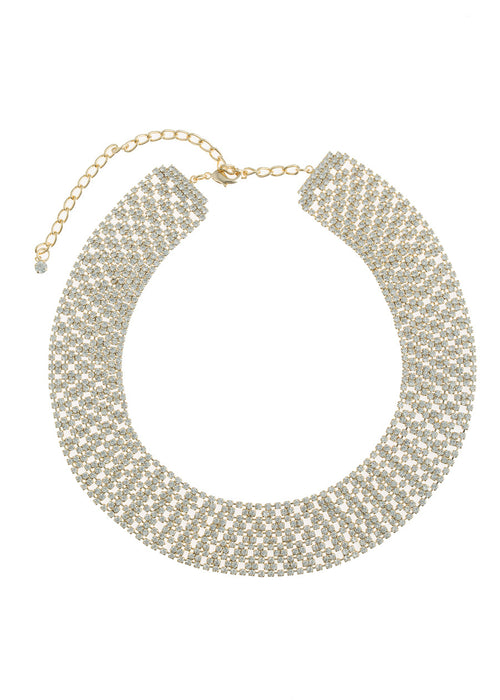 Large Soft link CZ encrusted short necklace, Gold finish