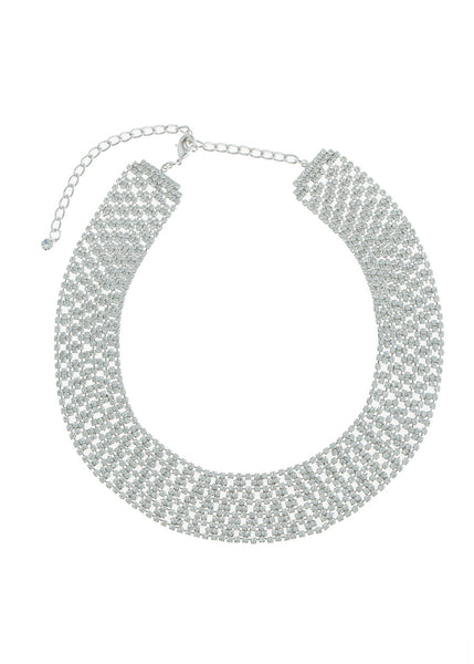 Large Soft link CZ encrusted short necklace, White Gold finish