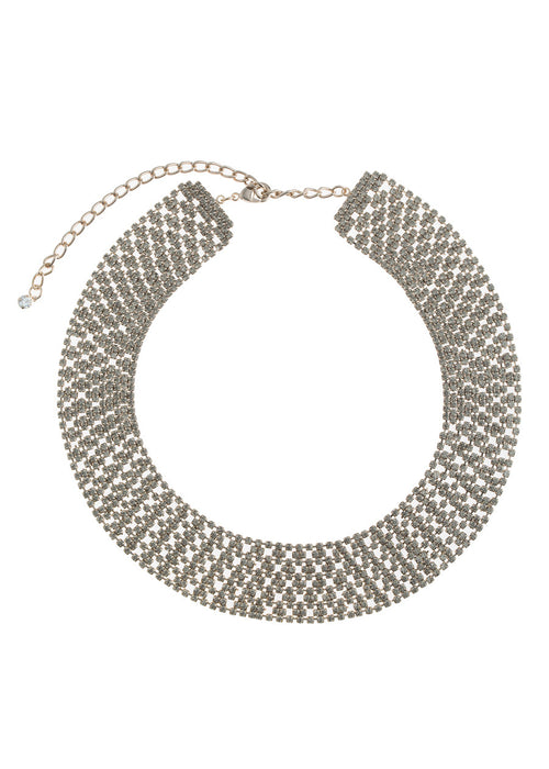 Large Soft link CZ encrusted short necklace, Antique finish