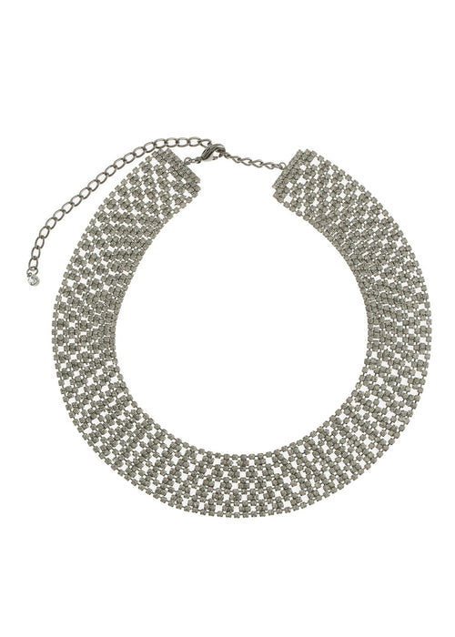 Large Soft link CZ encrusted short necklace, Gun metal finish