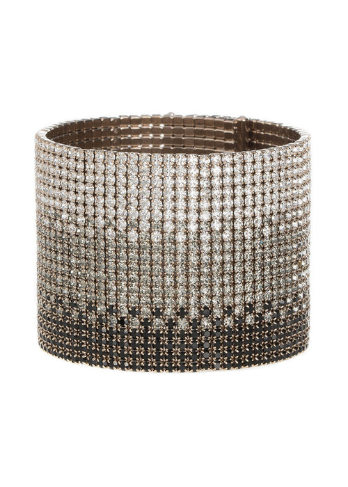 Gradated CZ Bangle, 20 Rows, Antique gold finish