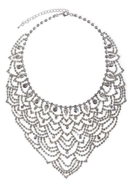 Masquerade statement bib necklace set in clear CZ, White gold finish