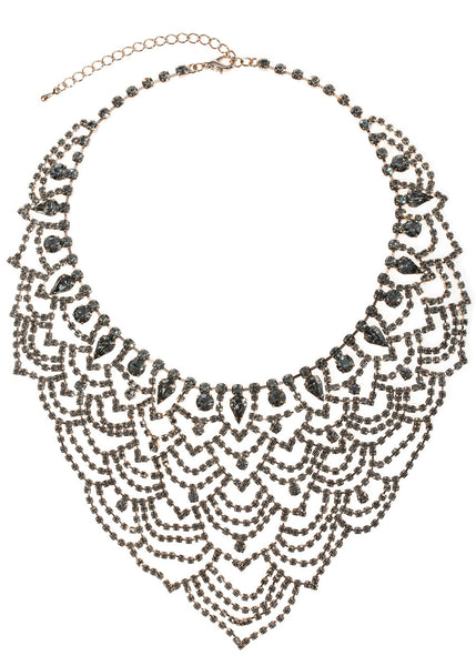 Masquerade statement bib necklace set in black diamond CZ, Antique gold finish