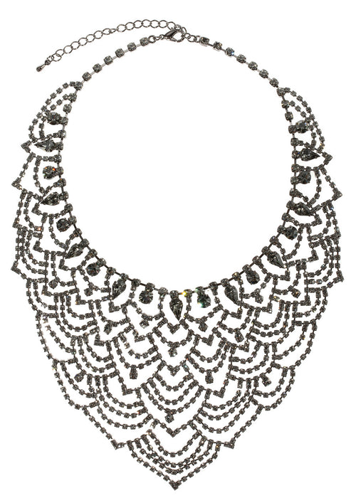 Masquerade statement bib necklace set in black diamond CZ, Gunmetal finish