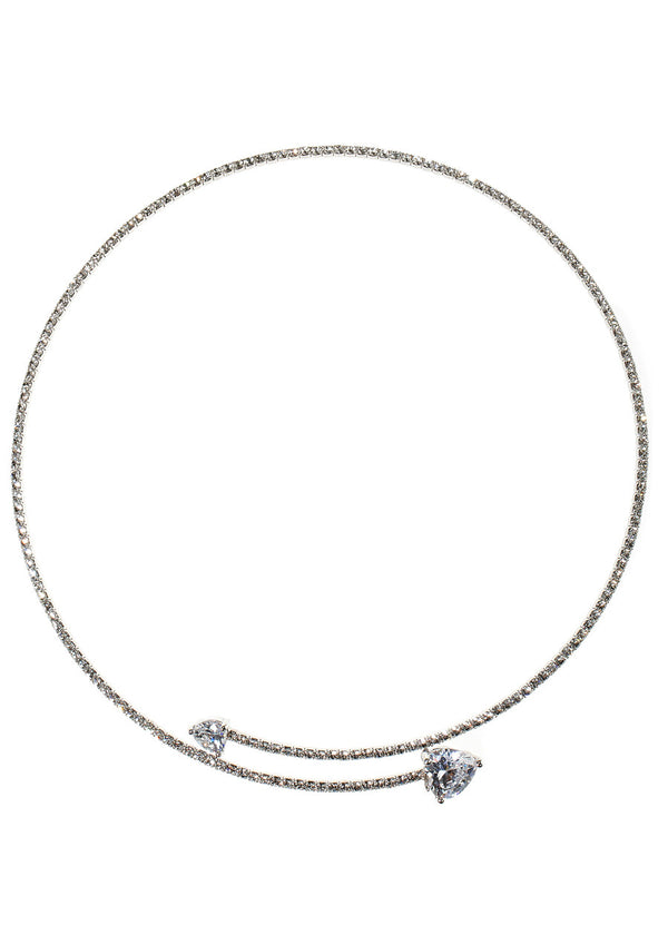 Single row flexible chocker with two  hearts rock CZ necklace, White gold finish