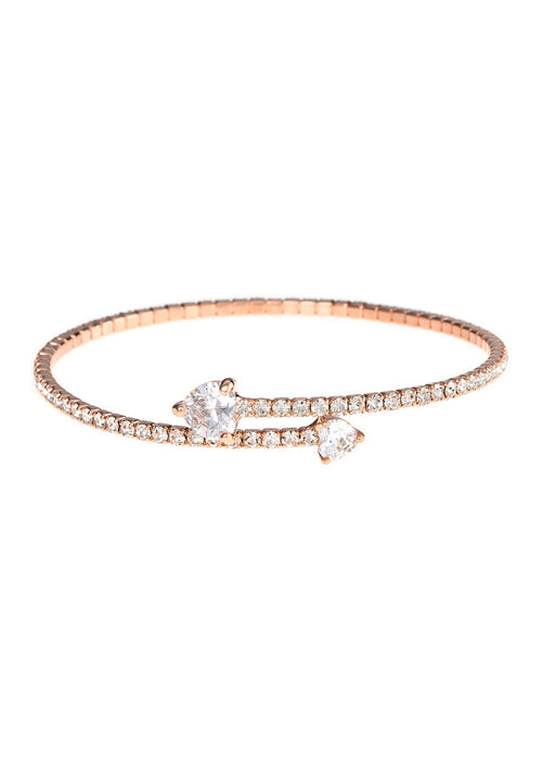 Single row flexible bangle with two rock CZ hearts, Rose gold finish