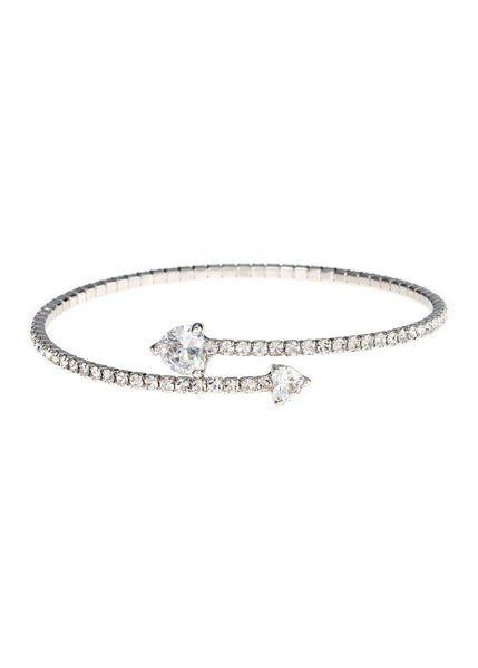 Single row flexible bangle with two rock CZ hearts, White gold finish