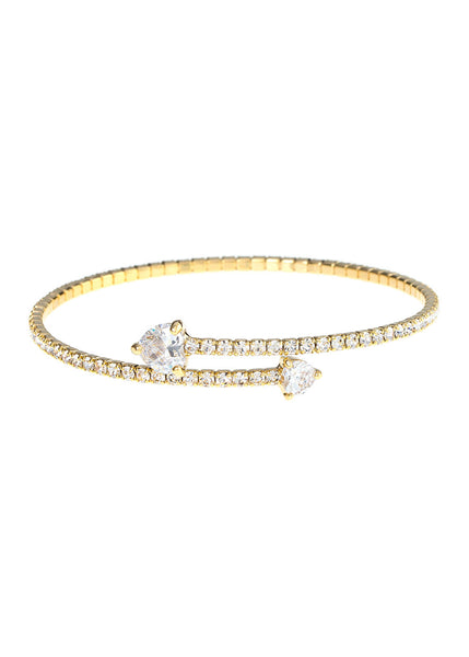 Single row flexible bangle with two rock CZ hearts, Gold finish