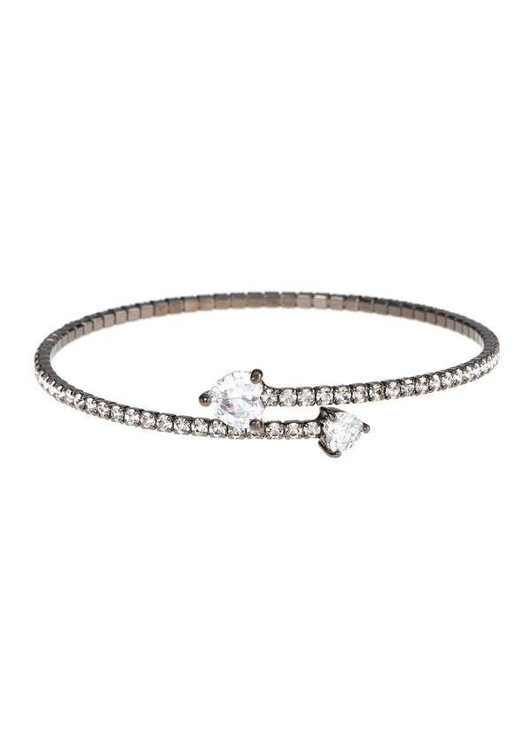 Single row flexible bangle with two rock CZ hearts, Gunmetal finish