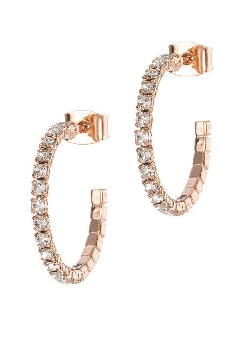 Small classic single line clear CZ open hoop in Rose gold finish