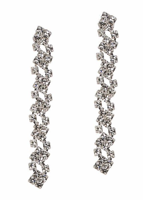 Cascading linear drop clear CZ earrings, White gold finish