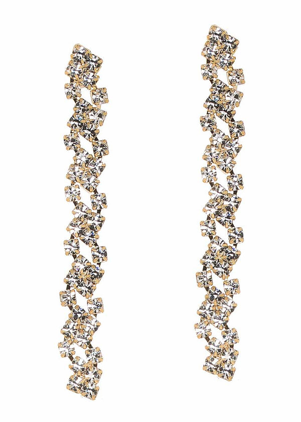 Cascading linear drop clear CZ earrings, Gold finish