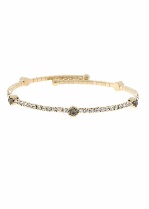 Clear CZ Bangle with 5 Black diamond accents,1 Row, Gold finish