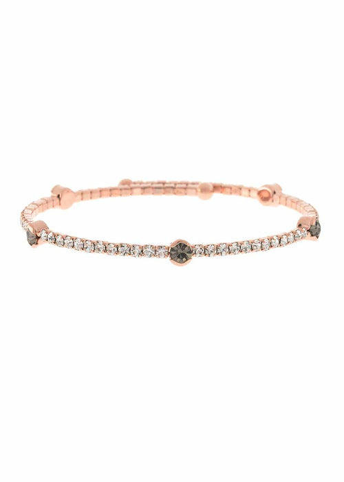 Clear CZ Bangle with 5 Black diamond accents,1 Row, Rose Gold finish