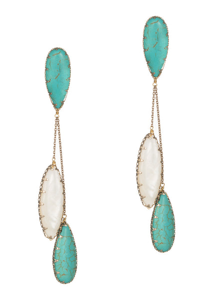Turquoise and Mother of Pearl drop earrings, Antique gold finish