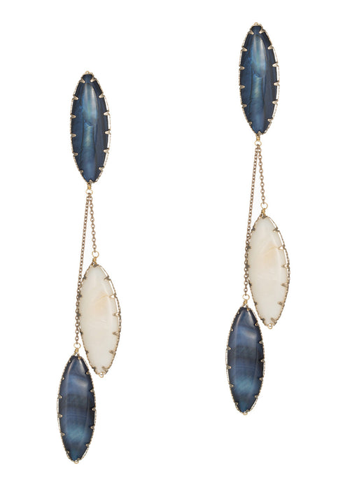 Lapis and Mother of Pearl drop earrings, Antique gold finish