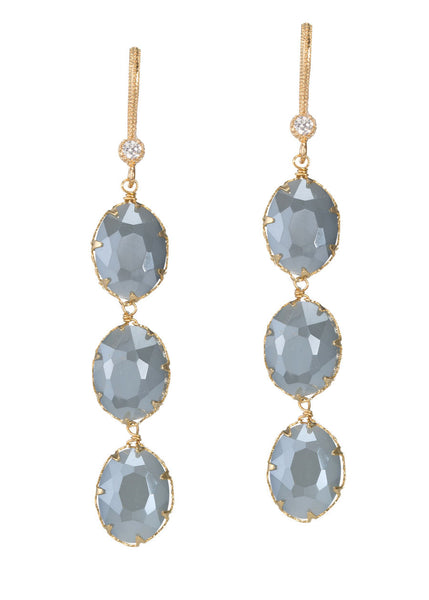 Three tier facet oval cut coated Swarovski crystal linear drop earrings, Gold finish, Sky