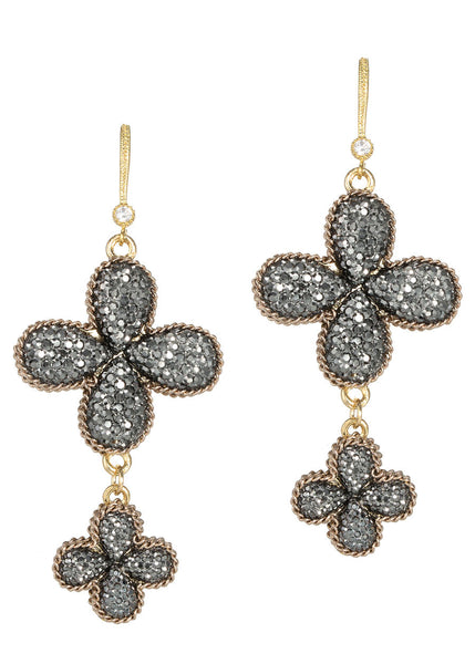 Doubled side two tier clover drop earrings, Antique gold finish