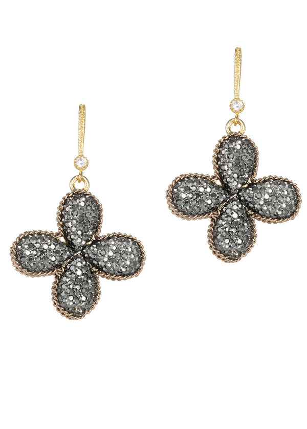 Doubled side single tier clover drop earrings, Antique gold finish