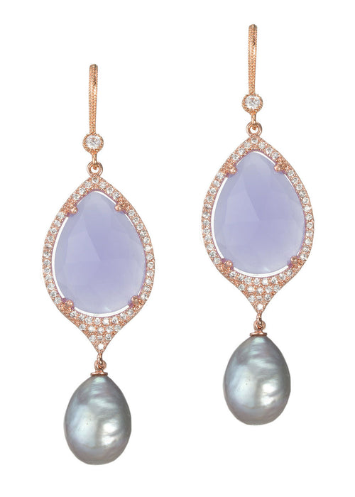 Hand set CZ framed lavender agate drop earrings with Gray fresh water pearl drops, Rose gold finish