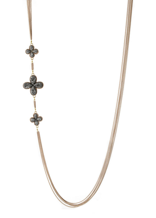 Simplified Clover long strand necklace encrusted with Hematite, Antique gold finish