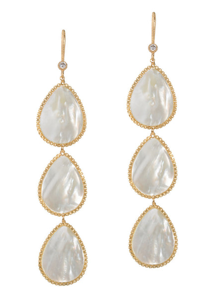 White MOP three tier drop earrings, Gold finish