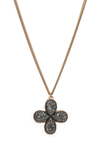 Clover short necklace encrusted with Hematite, Antique gold finish