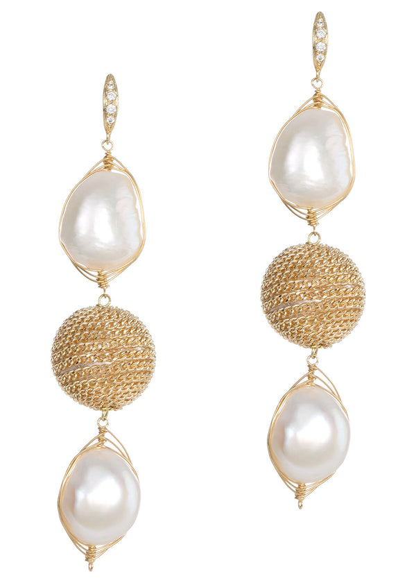 White Baroque pearl and chained ball drop earrings, Gold finish